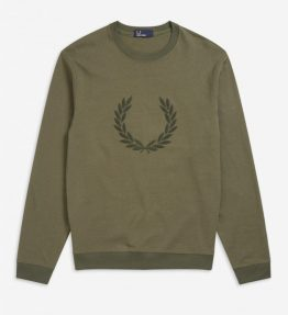 FRED PERRY LAUREL WREATH APPLIQUE SWEATSHIRT