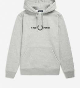 FRED PERRY GRAPHIC EMBROIDERY HOODED SWEATSHIRT